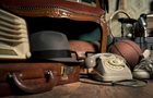 Answer SUITCASE, HAT, TELEPHONE, BALL, HOURGLASS, MICROPHONE, RACKET, RADIO