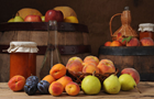 Answer APRICOT, BARREL, PEAR, PEACH, BASKET, JAR OF JAM, CARAFE, PLUM