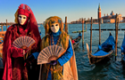 Answer VENICE, MASK, OPEN FAN, NECKLACE, GONDOLA, WATER, BOAT, CHURCH