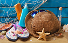 Answer SEA STAR, FLIP FLOPS, SAND, SCALLOP, HAT, GLASSES, NET, ROWBOAT