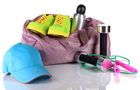 Answer CAP, SNEAKERS, JUMP ROPE, DUMB-BELL, GYM BAG, SHOELACE, STOPPER, FLASK