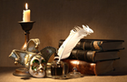 Answer CANDLE, FEATHER, INKPOT, BOOK, MASK, BELL, LID, BINDER