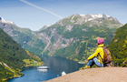 Answer MOUNTAIN, FJORD, BOAT, BACKPACK, HAT, SNOW, ROAD, ROCK