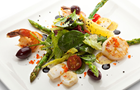 Answer ASPARAGUS, SCALLOP, OLIVE, SHRIMP, TOMATO, SALAD, PLATE, LEMON