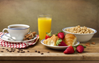 Answer ORANGE JUICE, CEREAL, STRAWBERRY, CROISSANT, COFFEE BEAN, SPOON, CINNAMON STICK, TEA