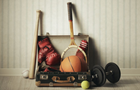 Answer BAT, BALL, DUMBBELL, RACKET, BOXING GLOVES, BASKETBALL, SUITCASE, WALLPAPER
