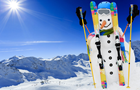 Answer SNOWMAN, CARROT, GLOVES, SKI SLOPE, SCARF, HELMET, BINDINGS, CHAIRLIFT